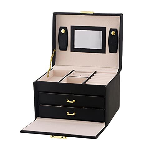 Caja de Joyas Caja de joyería de la joyería de la joyería de viajes portátiles de la PU de 3 capas Caja de joyería de la exhibición de la PU con la caja de la joyería de bloqueo y espejo para anillos