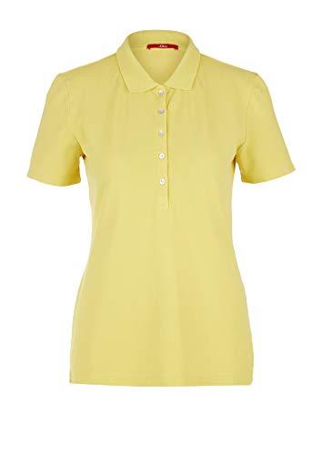 s.Oliver Damen Poloshirt mit Perlmuttknöpfen Light Yellow 44