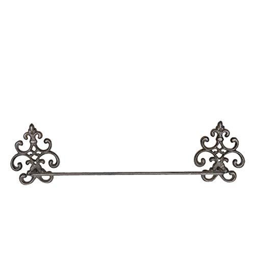 Maisonica Handtuchhalter aus Gusseisen mit Fleur de LYS Parisienne, Wandmontage, Metall