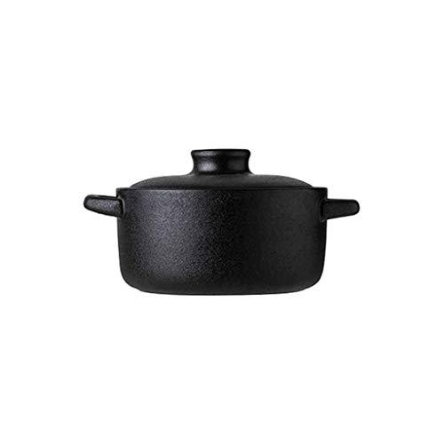 JLWM Suppenschüssel Mit 2 Henkel Und Deckel, Suppenschüsseln Aus Porzellan Keramik Ofen Mikrowelle Küche Einfarbig Für Haferbrei Pudding Backen-Schwarz-S