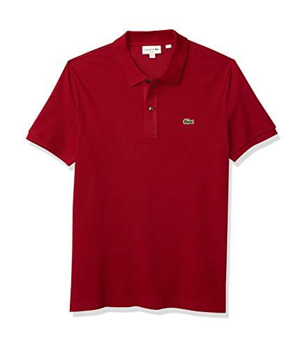 Lacoste Camisa polo masculina clássica piqué slim fit de manga curta, Bordeaux, X-Large