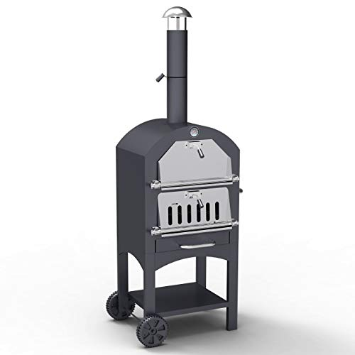 Outdoor Pizza Oven 3-in-1 Charcoal BBQ Grill with Chimney, BillyOh Wood Fired Garden Charcoal Portable BBQ Barbecue Grill Smoker, Pizza Stone and Cover