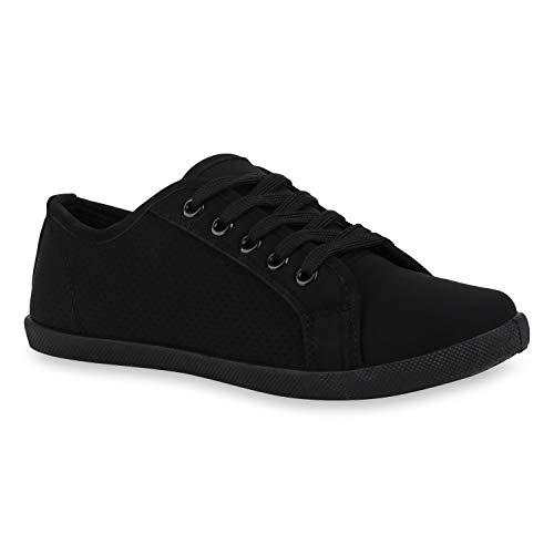 stiefelparadies Damen Sneaker Low Bequeme Turnschuhe Schnürer Leder-Optik Schuhe Cut Out Freizeitschuhe 172741 Schwarz Cut-Outs 37 Flandell