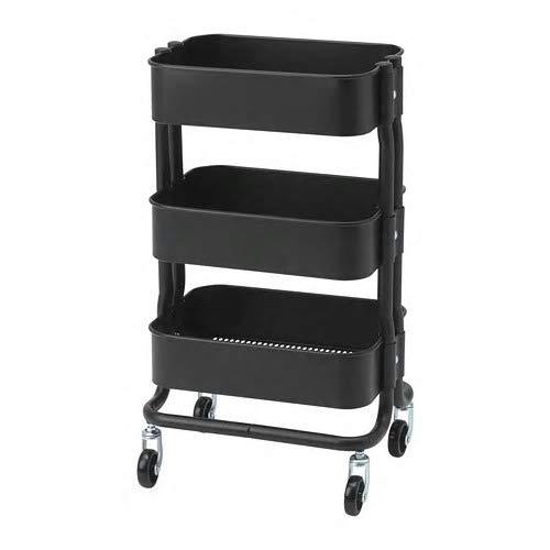 IKEA/イケア RASHULT/ロースフルト:ワゴン38x28x65 cm ブラック (304.459.91)