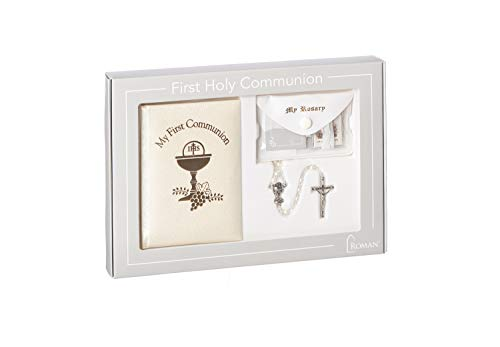 Roman - Deluxe Communion Girl Book and Accessories, 5pc Set, Padded Pearlized Cover, First Communion Collection, 6.75
