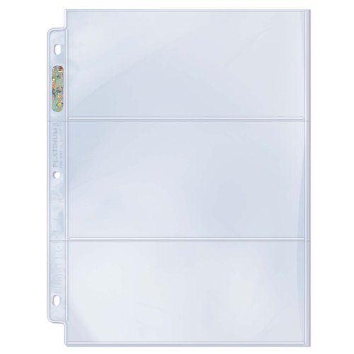 Ultra Pro 3-Pocket Platinum Page with 3-1/2″ X 7-1/2″ Pockets Horizontal Style Toploading (25-Count)