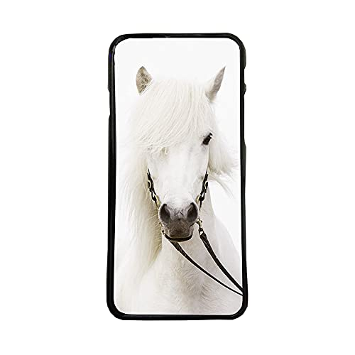 afrostore Funda Carcasa de móvil para Apple iPhone 7 Caballo Blanco TPU Borde Negro