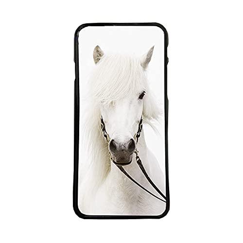 afrostore Funda Carcasa de móvil para Apple iPhone 7 Caballo Blanco TPU Borde Negro