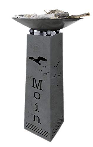 GILDE Metallständer mit Begrüßung Moin und Möwenmotiv komplett mit Schale Schalenständer mit Pflanzschale
