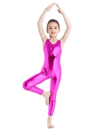 Inlzdz - Traje de gimnasia sin mangas para niños y niñas, metálico, para ballet, danza, leotardo, Unisex niños, color rosa (b), tamaño 9-10 años