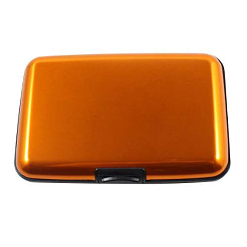 Doitsa Tarjetero Cartera Moda Monedero Aleacion de Aluminio Cartera de tarjetas de crédito Tarjeta de identificación Porta tarjetas de visita Hombres Señora Naranja