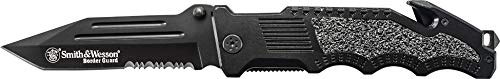 Smith & Wesson Border Guard SWBG2TS 10in High Carbon S.S. Folding Knife with 4.4in Serrated Tanto Blade and Aluminum Handle for Tactical, Survival and EDC , Black