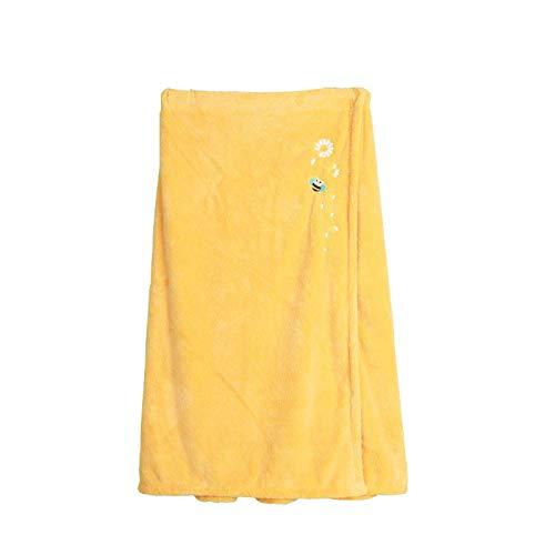 YUY Falda de Baño, Mujer Ligero hasta La Rodilla Bañera de Hidromasaje Ducha Portátil Abrigo de Baño Sin Tirantes Cubrir Toalla de Baño Vestido,Yellow