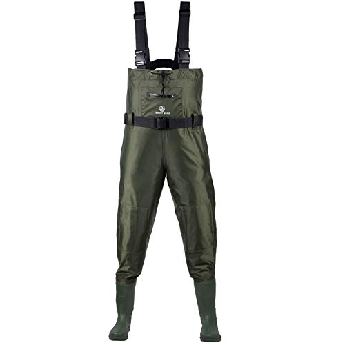Fishing Chest Waders for Men with Boots - Waterproof Nylon & PVC Fly Fishing, Hunting Bootfoot Wader for Women - Comfortable Mens Fisherman Pants - Large Zippered Pocket & Knee Pads - US Men 7