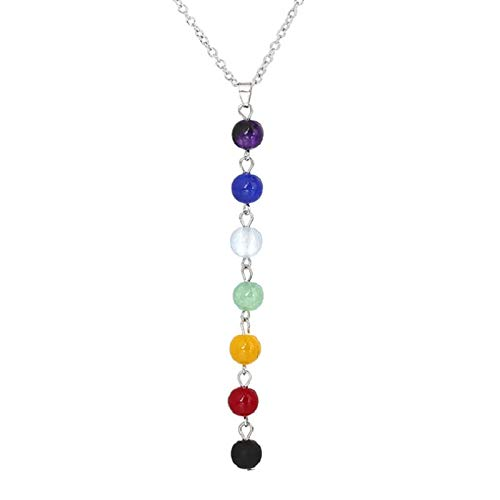 AJESLU 1PC Natural Crystal Seven Chakra Pendant Quartz Crystal Mineral Jewelry Fashion Couple Decoration Meditation Yoga Gift Jewelry