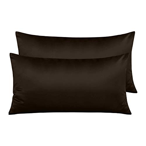 Pack 2 Fundas de Almohada de Microfibra con Cremallera Funda Almohada Transpirable Suave Antiarrugas ( Marrón, 45x70 cm)
