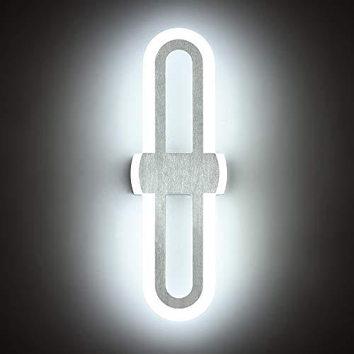 Yafido 15W LED Aplique Pared Interior 900Lm/365mm Lámpara de pared de Plata cepillada lampara de pared escalera 6000K Blanco Frío No regulable