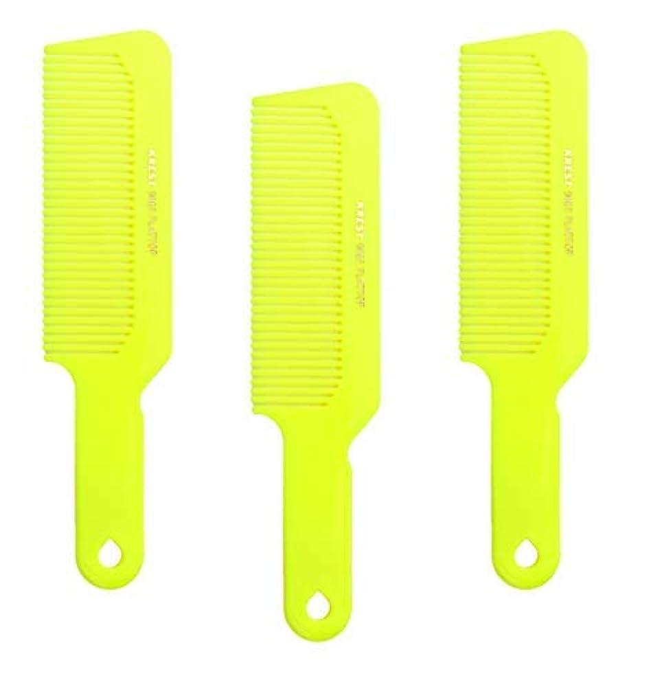彼らの線形禁じるHair Comb 8-3/4 Flattop Hair Cutting Comb. Barbers Hairdresser Comb. Model 9001. 3 Combs (Neon Yellow) [並行輸入品]