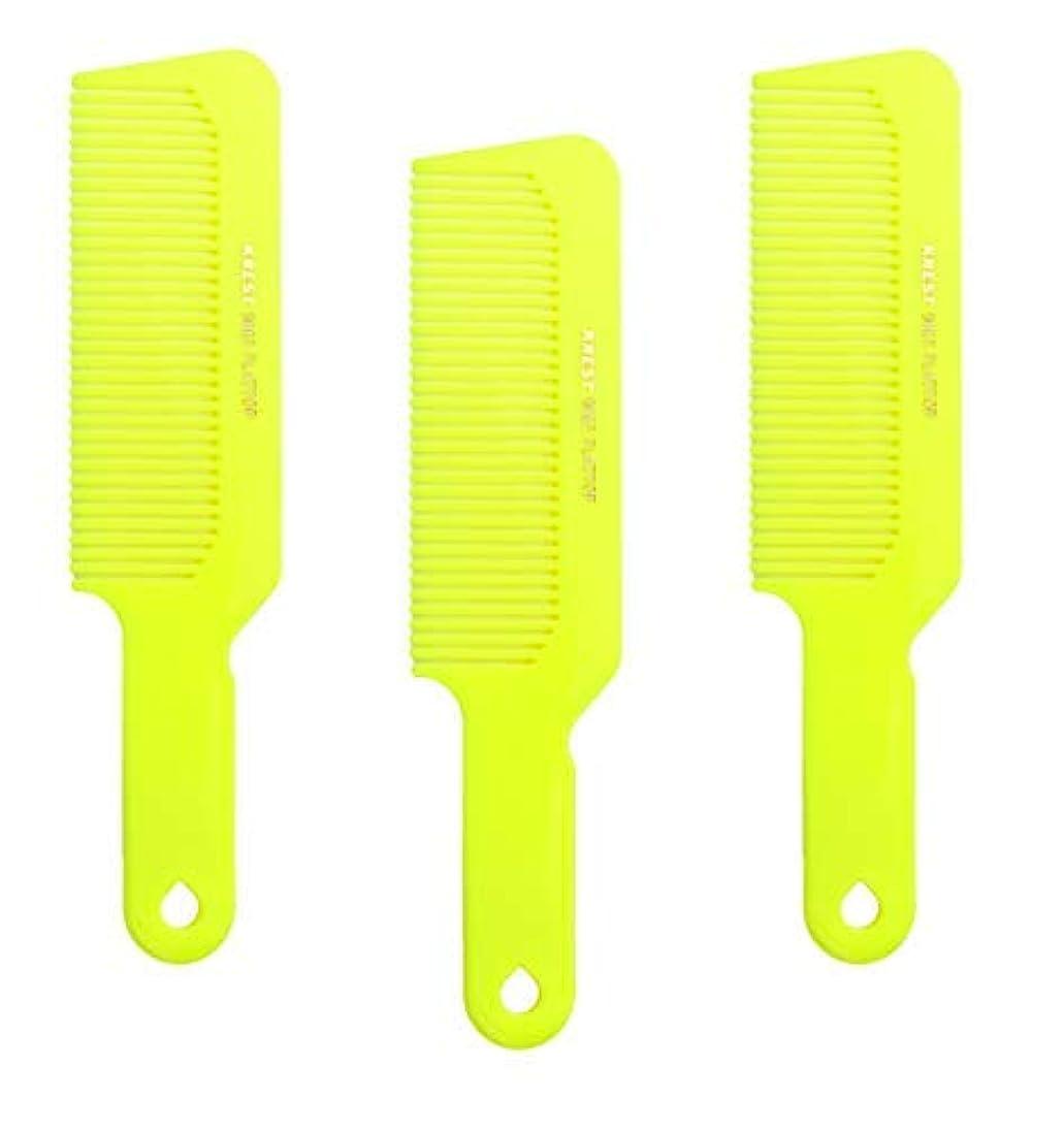 余剰オピエート極めてHair Comb 8-3/4 Flattop Hair Cutting Comb. Barbers Hairdresser Comb. Model 9001. 3 Combs (Neon Yellow) [並行輸入品]