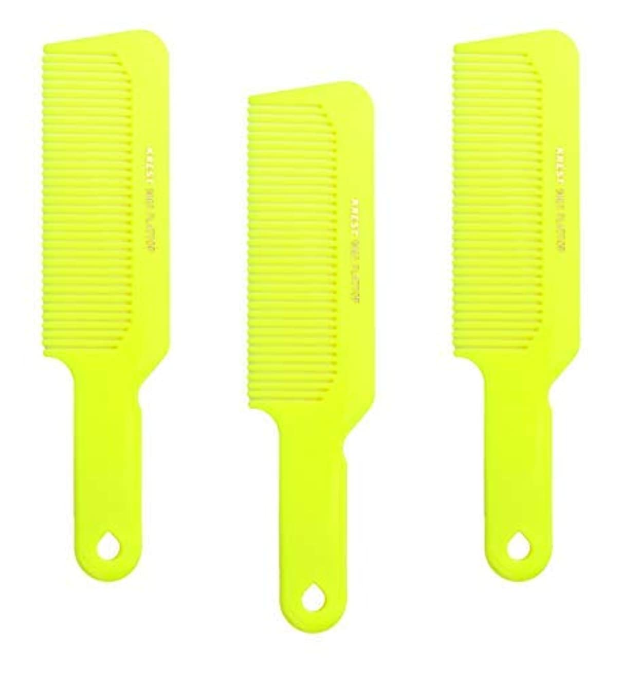 ビクター認証イブHair Comb 8-3/4 Flattop Hair Cutting Comb. Barbers Hairdresser Comb. Model 9001. 3 Combs (Neon Yellow) [並行輸入品]