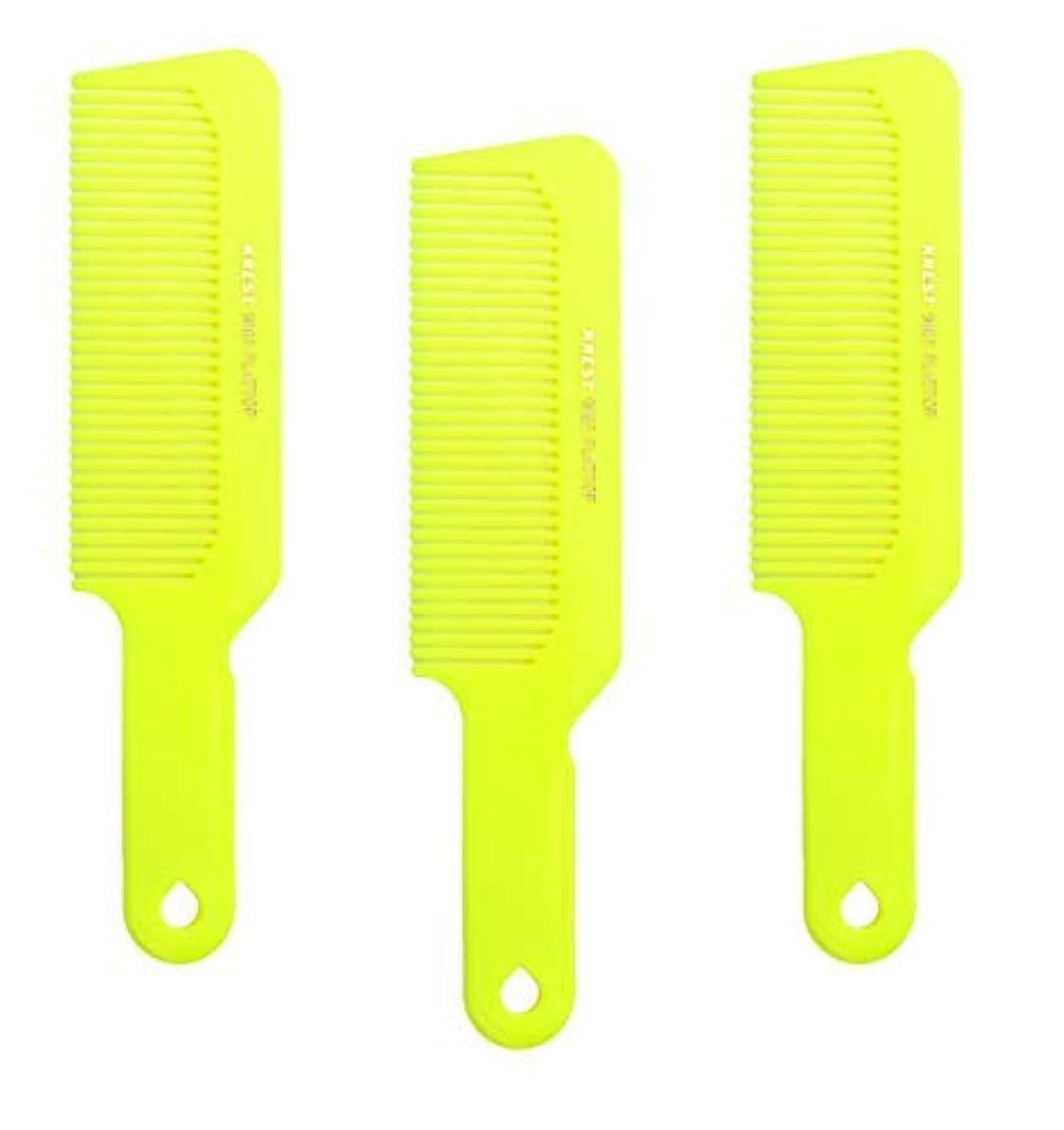 評決業界やろうHair Comb 8-3/4 Flattop Hair Cutting Comb. Barbers Hairdresser Comb. Model 9001. 3 Combs (Neon Yellow) [並行輸入品]