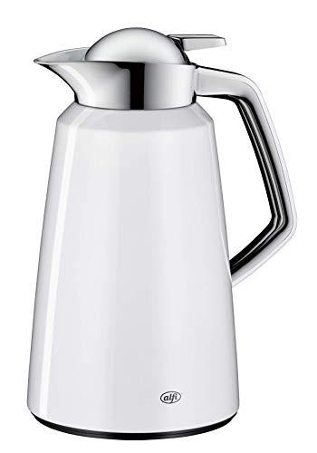 alfi Vito, Thermoskanne Metall weiß 1L, mit alfiDur Glaseinsatz, 1611.211.100, Isolierkanne hält 12 Stunden heiß, ideal als Kaffeekanne oder Teekanne, Kanne für 8 Tassen