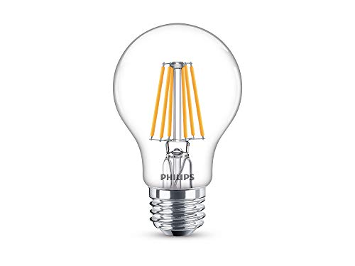 Philips LED Philips 469734 60 Watt Equivalent Clear Glass A19 Dimmable LED Light Bulb with Warm Glow Effect, Soft White, 8 Pack, Piece