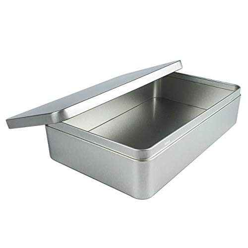 Silver Metal Tin Box Lids - Large Containers for Keeping Car Keys, Cookie, Pencil Case, 8.5 x 5.3 x 1.9 Inches