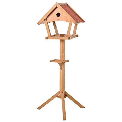 Pawhut Vogelhaus hölzerne Vogelvilla Futterhaus Vogelständer Vogel-Tischvogelhaus Spielstand für den Aussenbereich Natur 49 x 45 x 139 cm