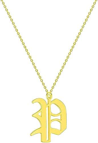 Yiffshunl Collar Collar Simple 26 Letras Iniciales Collar de Mujer Nombre Acero Inoxidable Novia Cadena étnica Collares Neklace para Mujer