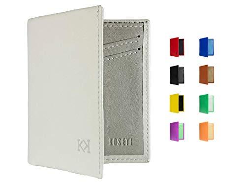 KOSETI - Cartera Hombre Blanca | Regalo para Hombre | para Cualquier ocasión | 9 Colores Disponibles | Premium | 12 Tarjetas | Protección RFID y NFC | Hecha a Mano en España
