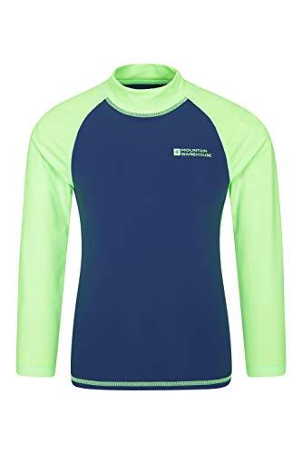 Mountain Warehouse Badeshirt für Kinder - Schwimmshirt mit UV-Schutz, Schnelltrocknendes Rash Guard Stretch, Langarmshirt für Kinder, Flache Nähte Hellgrün 13 Jahre