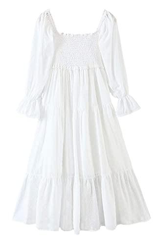 Vestido de verano para mujer, estilo bohemio, con cuello cuadrado, con lazo, informal, fuera de los hombros, para fiesta en la playa, vestido largo largo Y2k (color: blanco, tamaño: M)