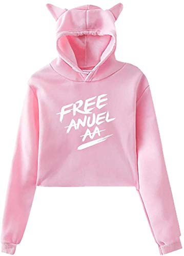 Woman'S Anuel AA Logo Fashion Cat Ear Hoodie Sweater,M