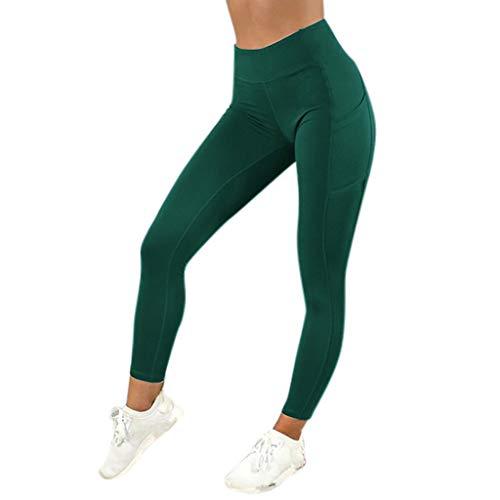 MEIbax Leggings Deportes Pantalones para mujeres de color sólido entrenamiento Gimnasio Fitness Gym Yoga Mid Cintura Running Workout Mallas elásticos Fitness Pants Ropa de Ejercicio con bolsillo