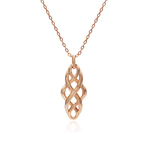 Rose Gold Flashed Sterling Silver Filigree Celtic Knot Spiral Twisted Pendant Necklace