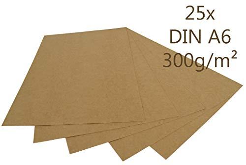 25er Pack Papermane Kraftpapier Kraftkarton DIN A6 300g/m² Bastelkarton braun Postkarte