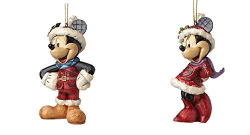 Disney Traditions Sugar Coated Mickey Mouse  and Minnie Festive Hanging Ornaments by Disney