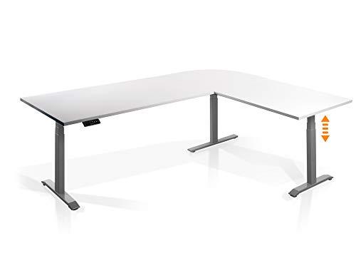 moebel-eins Elektrisch höhenverstellbarer Eckschreibtisch Schreibtisch Office One mit Memory-Steuerung und Softstart/-Stop, Material Tischplatte Dekorspanplatte, Weiss