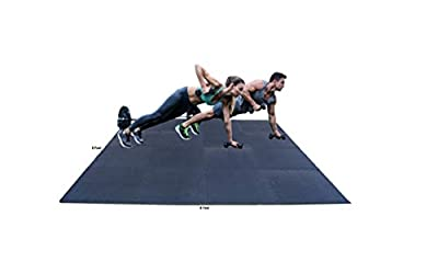 """Pro-Gymnastics Puzzle Exercise Mat, 8FTx8FT EVA Foam Interlocking Tiles 64 Sq Ft Coverage, Protective Flooring for Gym Equipment and Cushion for Home Gym Workouts (16 Black Tiles 3/4"""" Thick)"""