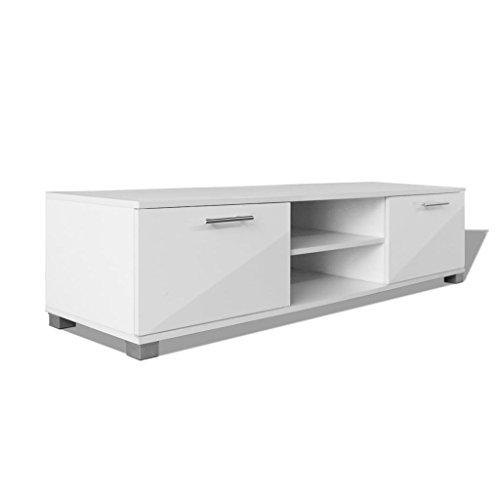 vidaXL Hochglanz TV-Schrank Fernsehtisch Lowboard Sideboard Weiß 120x40,3x34,7cm