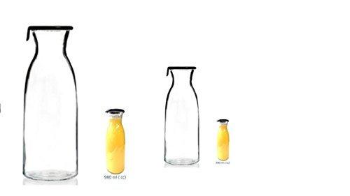 James Premium 2 x 1,0 Liter Wasserkaraffe Karaffe Glaskaraffe aus Glas/Glaskrug 1Liter Glaskaraffe Wasserkrug Karaffe Wasserkaraffe/Kühlschrankkrug/Wasserkrug/Kühlschrankkrug |