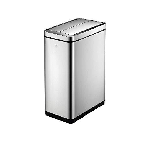 EKO Deluxe Phantom 45 Liter / 11.8 Gallon Touchless Motion Sensor Trash Can, 50 Liter Vertical, Brushed Stainless Steel Finish