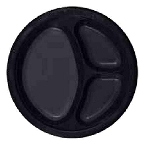 Kingzak'Round Plastic Compartment Plate - 10'' | Black | Pack of 50'