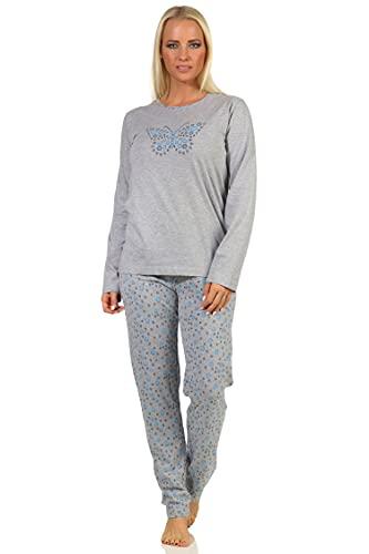 Damen Langarm Schlafanzug Pyjama mit Schmetterlingen als Motiv - 112 201 10 714, Farbe:hellblau, Größe:40-42