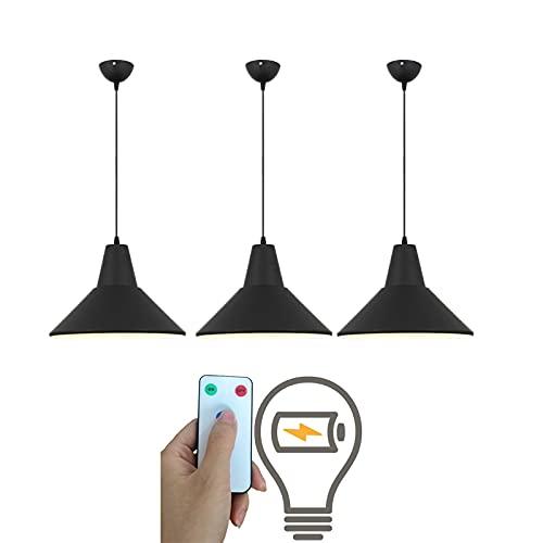 ADHA 3 Piezas de lámparas Colgantes industriales, Luces de araña de Metal Negro Ajustables, lámpara de Techo inalámbrica Interior con Control Remoto de Funcionamiento por batería para Isla de Cocina