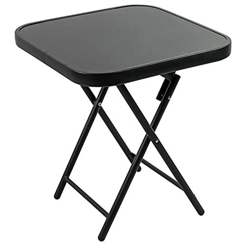 Woodside Folding Drinks/Side Table, Black Steel & Glass Outdoor Garden Coffee Table