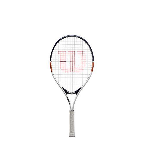 Wilson Roland Garros Elite 26 WR039210H Racchetta da Tennis, Bianco/Blu/Arancione