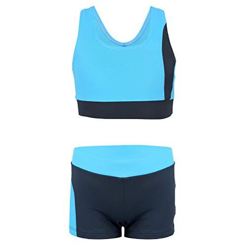Aquarti Mädchen Sport Bikini - Racerback Bustier & Badehose, Farbe: Grau/Blau, Größe: 152