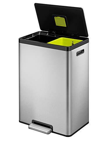 EKO EcoCasa II Dual Compartment Rectangular Kitchen Step Trash Can Recycler, 20L+20L, Brushed...